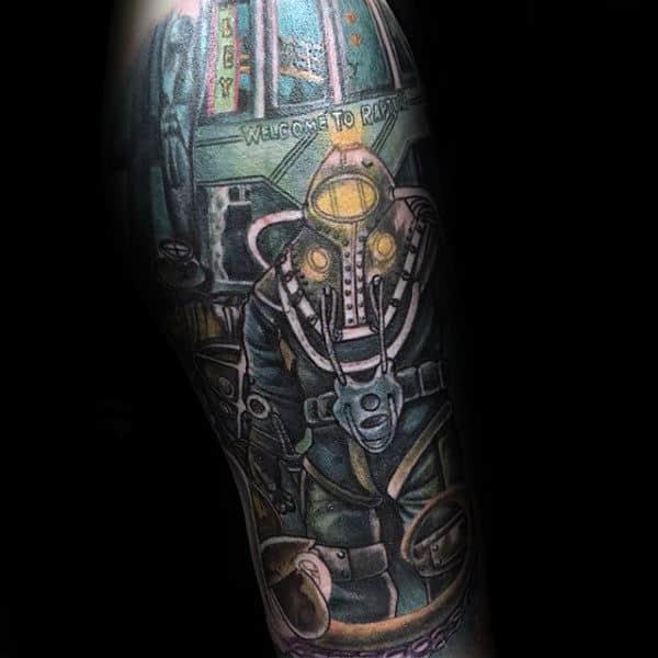 Cool Mens Bioshock Video Game Inspired Sleeve Tattoos