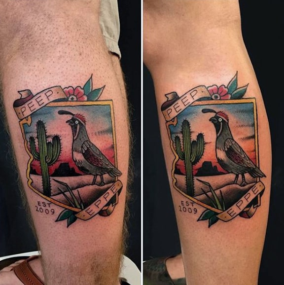 abdd68710 Cool Mens Bird With Cactus Tattoo On Calf Of Leg. Cool Small ...