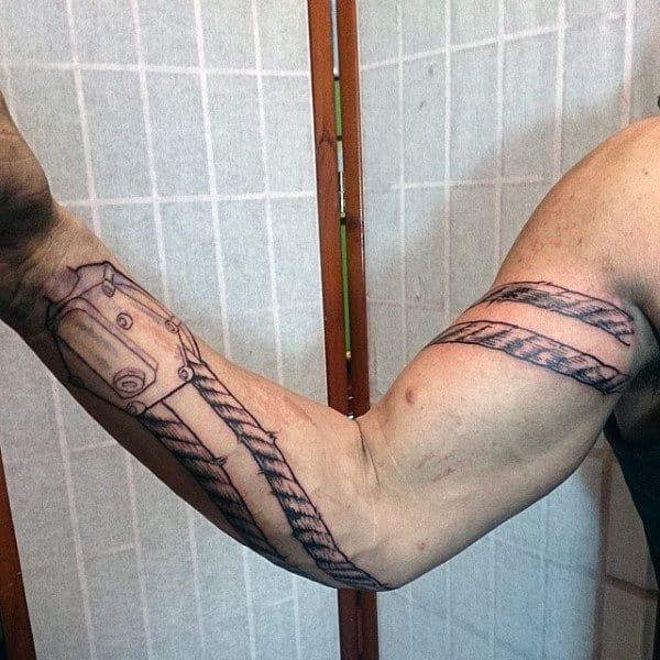 Cool Mens Black Ink Oilfield Rope Full Arm Tattoos