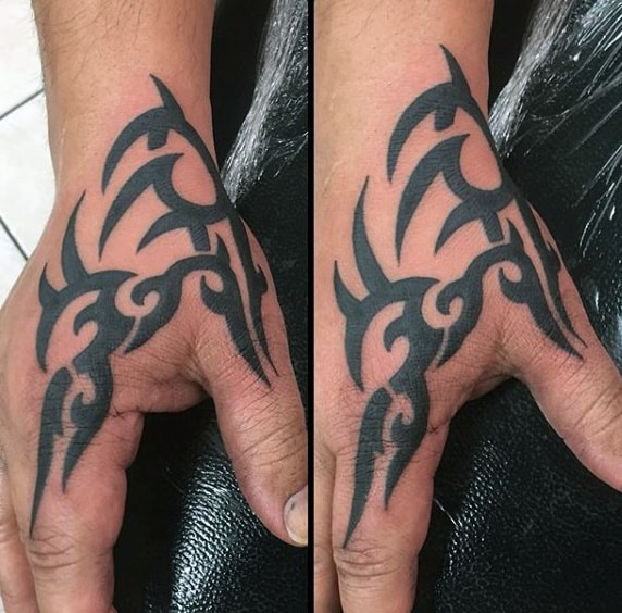 Cool Mens Black Ink Tribal Hand Tattoo Design Inspiration