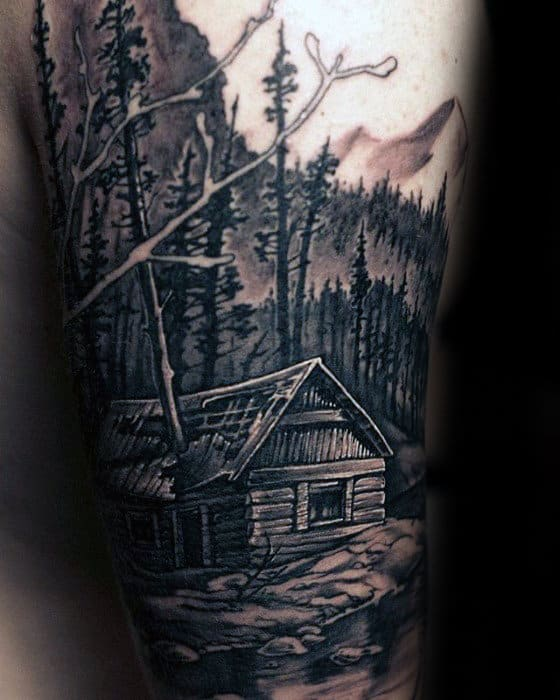 Cool Mens Cabin In The Woods Arm Tattoo Designs