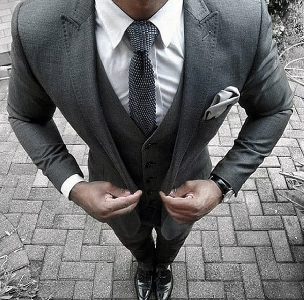 Cool Mens Charcoal Grey Suit Black Shoes Knit Grey Tie Style