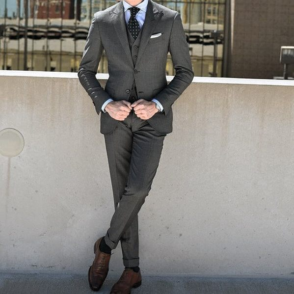 Cool Mens Charcoal Grey Suit Brown Shoes Style Inspiration