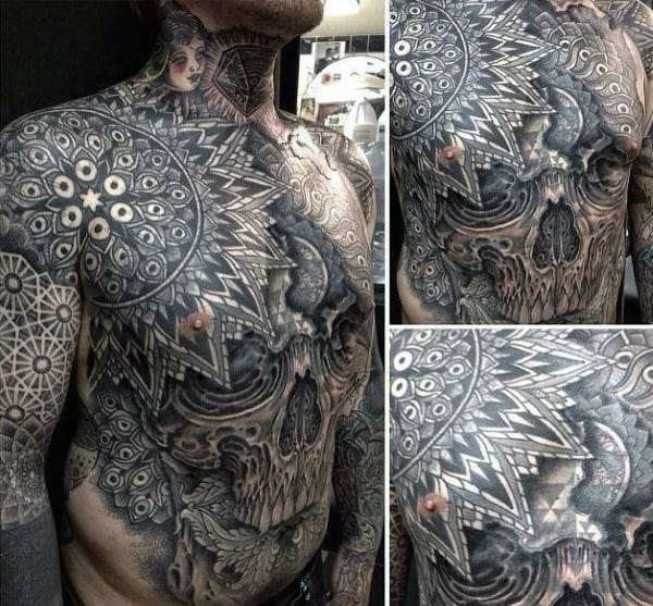 Cool Mens Chest Pattern Ornate Skull Tattoos