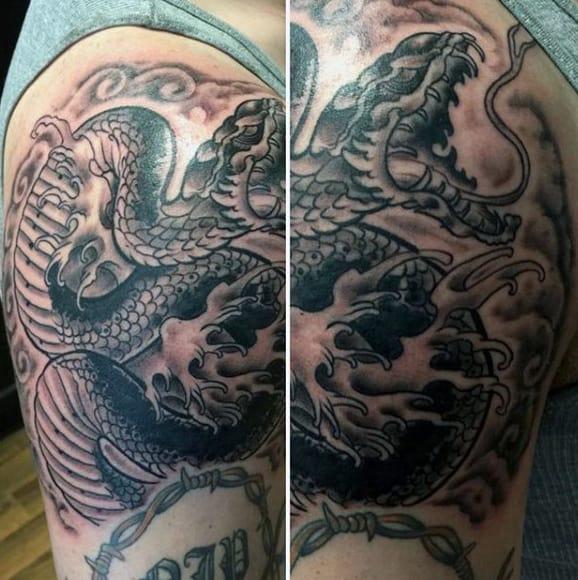 Cool Men's Cobra Snake Tattoo On Arm