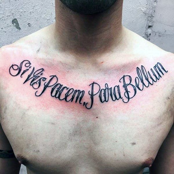 Cool Mens Collar Bone Lettering Tattoo Design Ideas