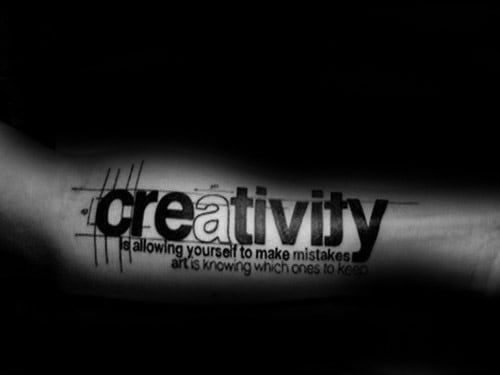 Cool Mens Creativity Forearm Quote Typography Tattoo Designs