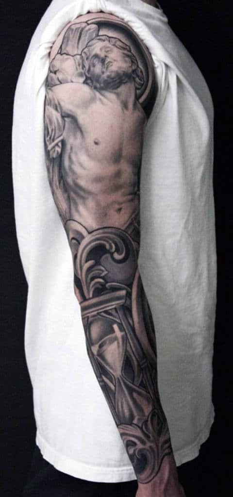 Cool Men's Cross Tattoo Sleeves
