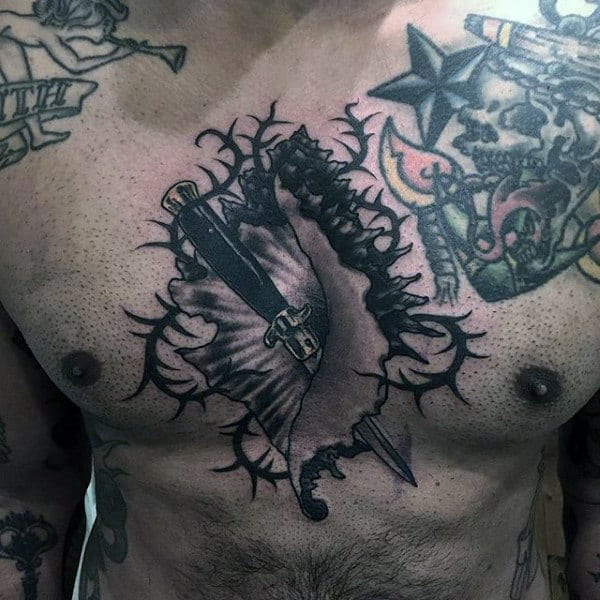 Cool Mens Dagger Seashell Chest Tattoo