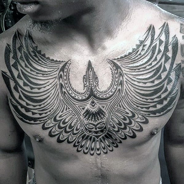 Cool Mens Decorative Tribal Bird Upper Chest Tattoo