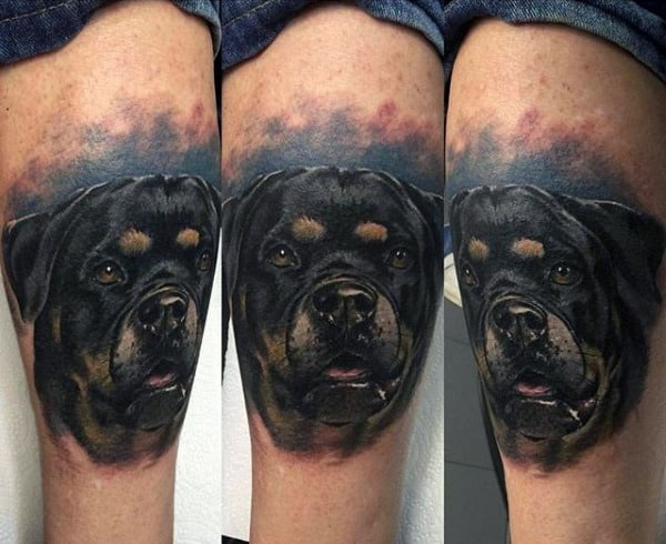 Cool Mens Dog Tattoo On Thigh With Watercolor Background