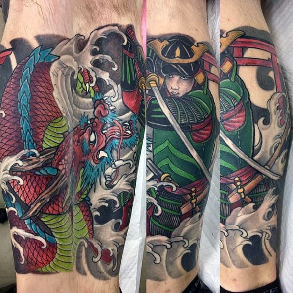 Cool Mens Dragon Leg Sleeve Tattoo Ideas
