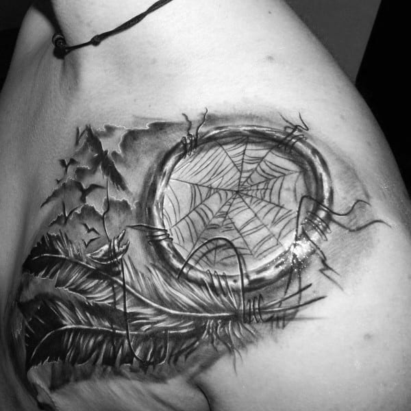 Cool Mens Dreamcatcher Tattoos Upper Chest And Shoulder