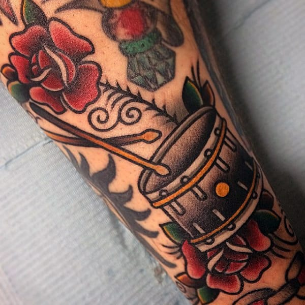 Cool Mens Drums Tattoo Old School Design On Arm