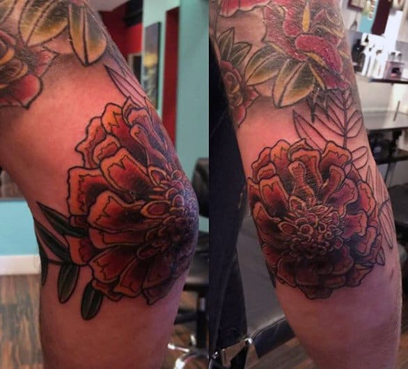 Cool Mens Elbow Tattoo Of Flower