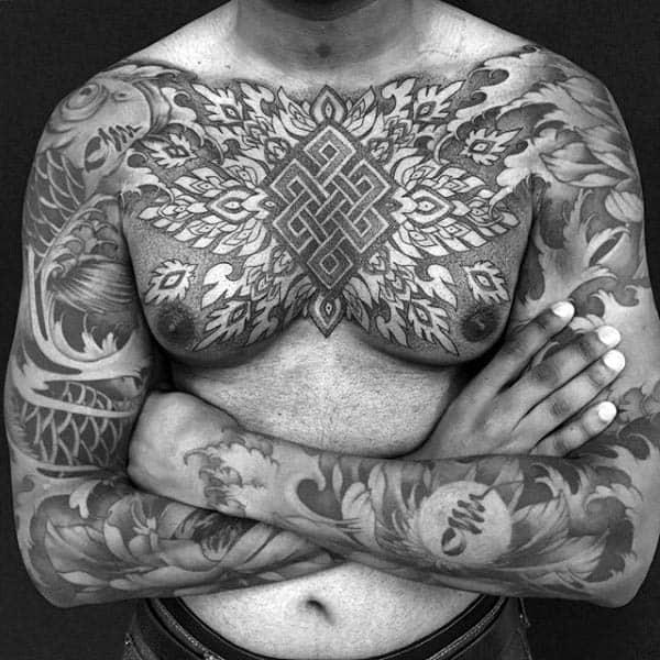 Cool Mens Eternal Knot Chest Tattoo