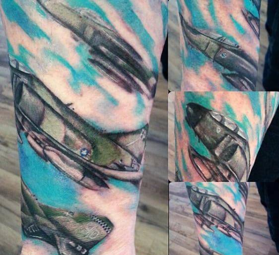 Cool Mens Fighter Jet Forearm Usaf Sleeve Tattoo