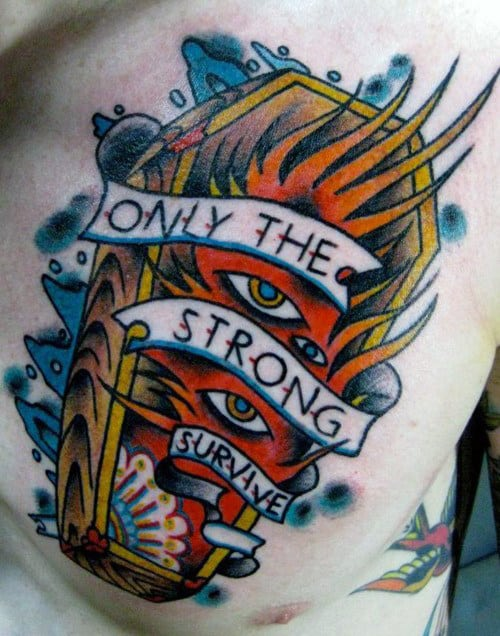 Cool Mens Flaming Casket Only The Strong Survive Chest Tattoo