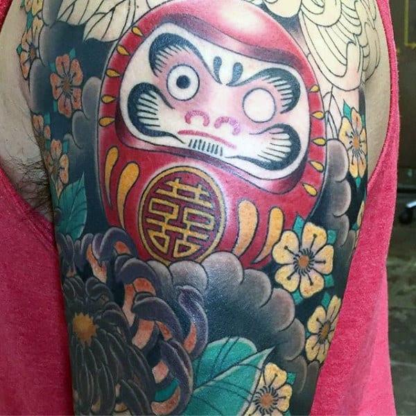 Cool Mens Flora Daruma Doll Arm Tattoos