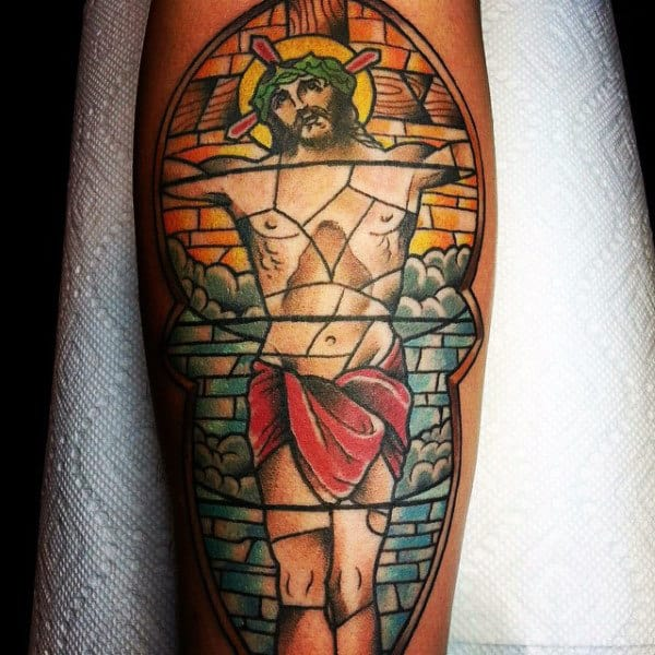 Cool Mens Forearm Stained Glass Tattoo Of Jesus Christ
