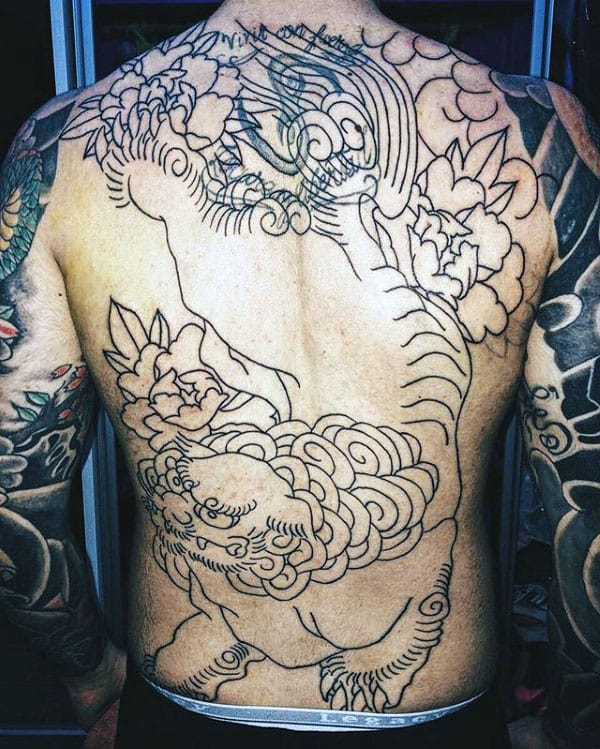 Cool Mens Full Back Black Ink Outline Foo Dog Tattoo
