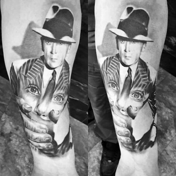Cool Mens Gangster Outer Forearm Tattoo