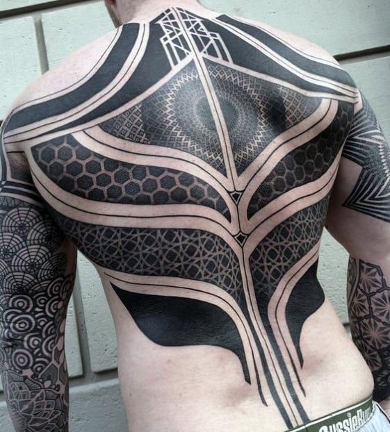Cool Mens Geometric Blackwork Full Back Tattoos