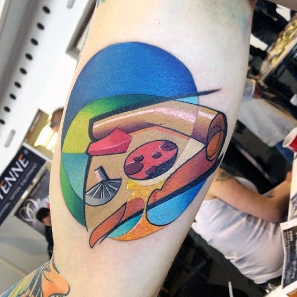 Cool Mens Graffiti Pizza Tattoo On Bicep