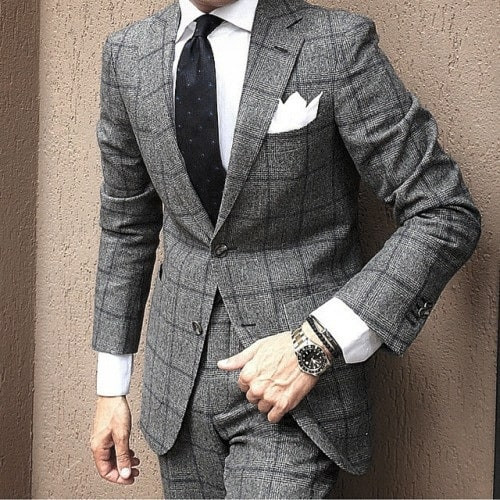 Cool Mens Grey Suit Style Inspiration With Black Tie And White Pocket Square