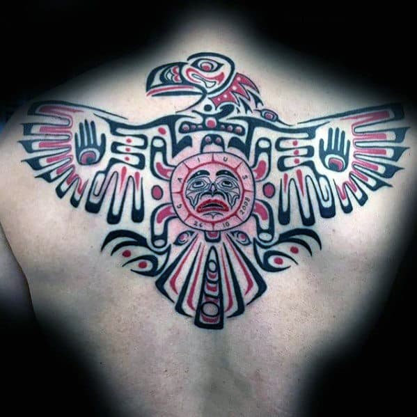 Cool Mens Haida Tribal Bird Eagle Upper Back Tattoo Ideas
