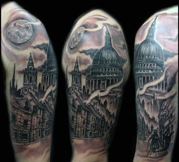 Cool Mens Half Sleeve Building Tattoos