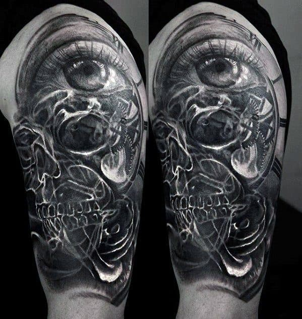 Cool Mens Half Sleeve Eye With Smoke Cover Up Tattoo Designs