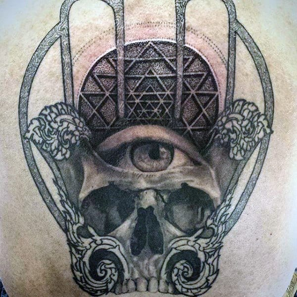 Cool Mens Hamsa Skull With Eye Tattoo On Back