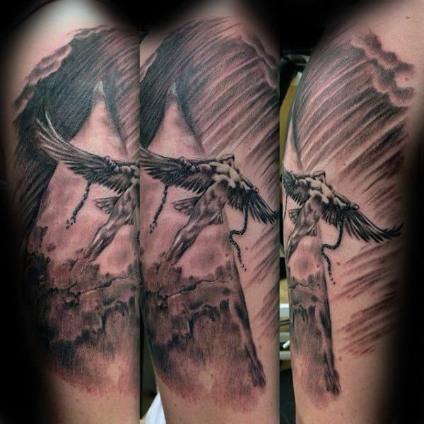 Cool Mens Icarus Arm Tattoo Ideas