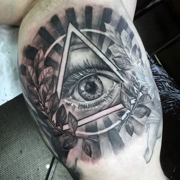 Cool Mens Inner Arm Bicep Eye Of Providence Shaded Tattoo