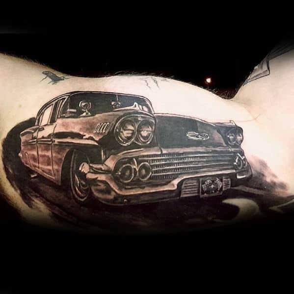 Cool Mens Inner Arm Bicep Vintage Chevy Tattoo