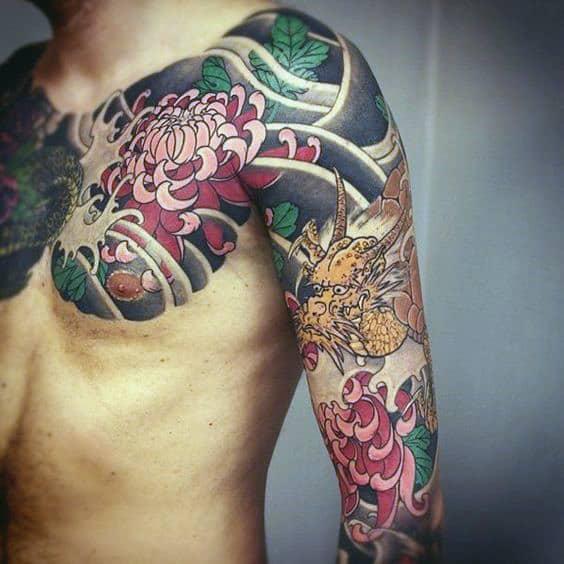 Cool Mens Japanese Chrysanthemum Chest And Half Sleeve Tattoo