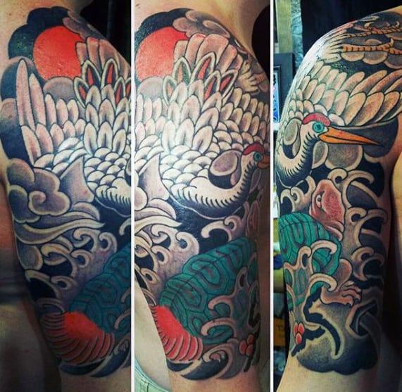 Cool Mens Japanese Crane Half Sleeve Tattoo