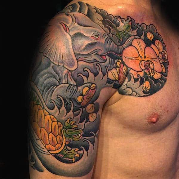 Cool Mens Japanese Turtle Half Sleeve Tattoos