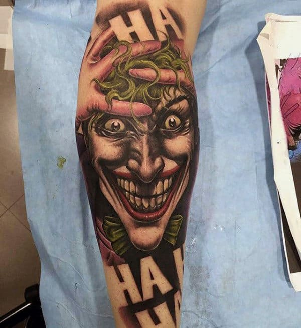Cool Mens Joker Negative Space Ha Leg Sleeve Tattoos