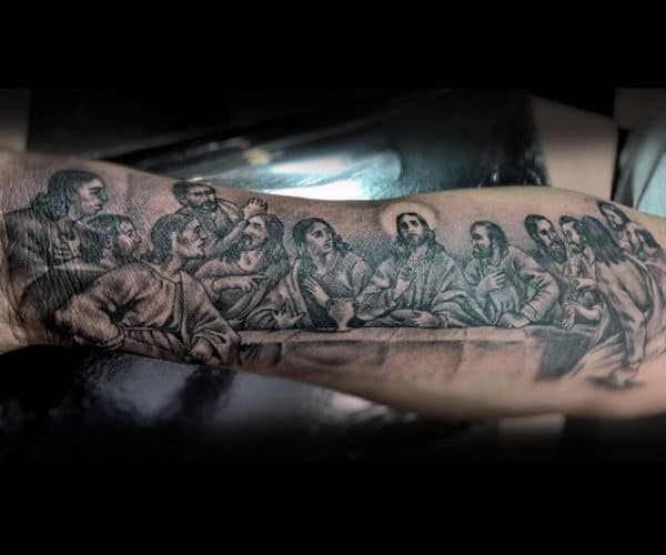 Cool Mens Last Supper Jesus With Apostles Tattoo Designs