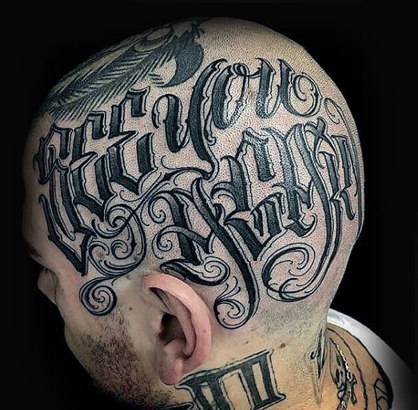 Cool Mens Lettering Head Tattoos