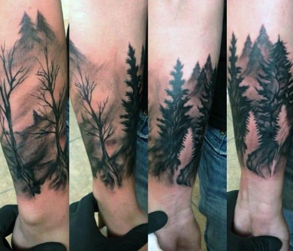 Cool Men's Lower Leg Pine Tree Tattoo Designs