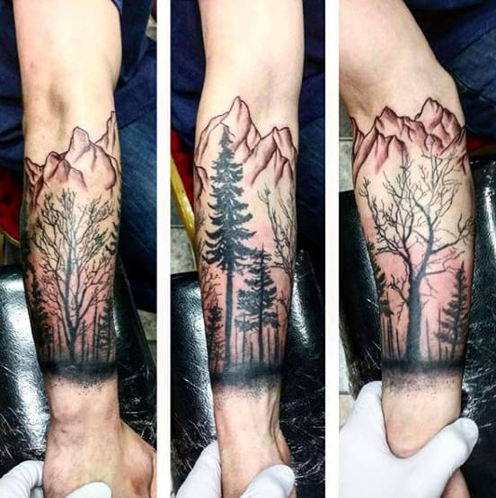 Cool Mens Mountain Forearm Tree Tattoo