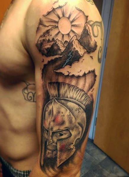 Cool Men's Mountain Tattoo On Upper Arm