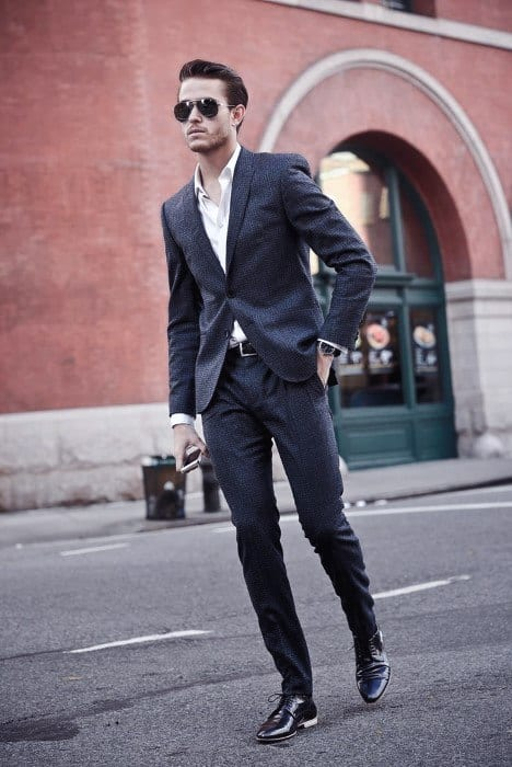 Cool Mens Navy Blue Suit Black Shoes Style With No Tie