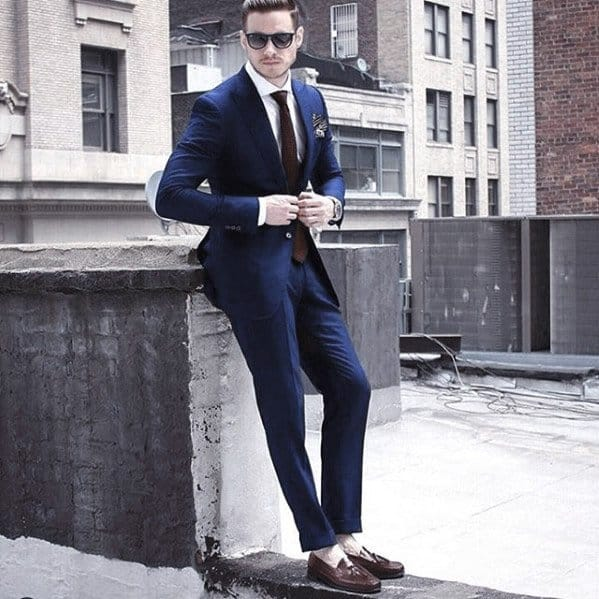 Cool Mens Navy Blue Suit Brown Shoes Style Inspiration