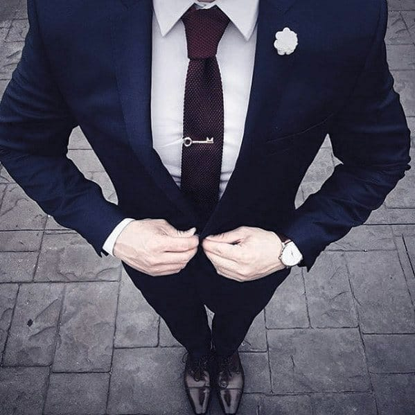 Cool Mens Navy Blue Suit Brown Shoes Style With Tie Bar And White Lapel Flower