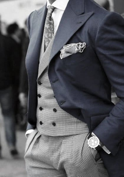 Cool Mens Navy Blue Suit Style Inspiration With Grey Pants And Vest