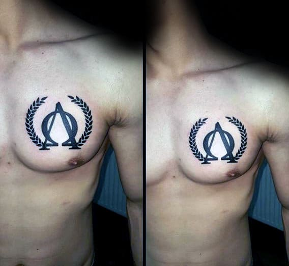 Cool Mens Olive Branch Alpha Omega Tattoo On Upper Chest